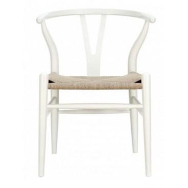 Silla CH24 blanco madera de haya y enea,muebles y decoración de diseño