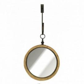 Espejo serie Spenser circular madera natural