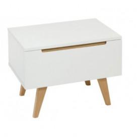 Mesita de noche colección Kendi color blanco madera roble