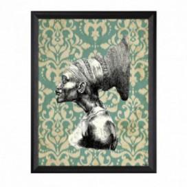 Cuadro colección Cambú africana moldura negra fina 30 x 40