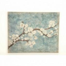 Cuadro rama almendro fondo azul
