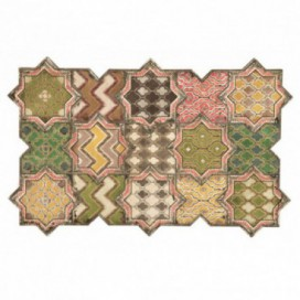 Cuadro Mosaico tonos verdes madera