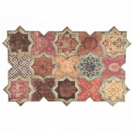 Cuadro Mosaico tonos rojos madera
