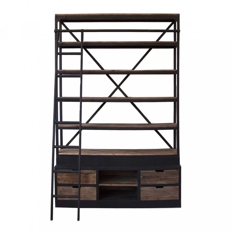 Estanter a librer a cannon realizada en madera de pino reciclado fabricaci n artesanal - Librerias con escalera ...