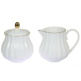 Lechera y azucarero Sisí blanco porcelana