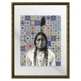 Cuadro Indio azulejos colores moldura oro adorno 30 x 40