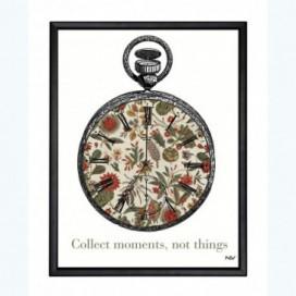 Cuadro colección Cambú reloj estampado moldura negra 30 x 40