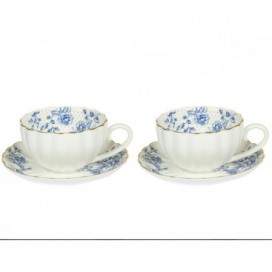 Set 2 tazas con plato Morning blue blanco porcelana