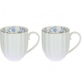 Set 2 tazas Morning blue blanco porcelana
