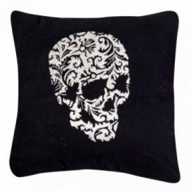 Cojín calavera negro algodón y lino