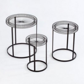 Mesa auxiliar set 3 Rolex metal negro