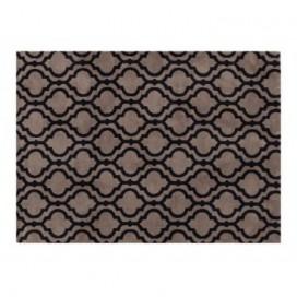 Alfombra Elegance color negro y crema estampado geométrico 100% poliéster