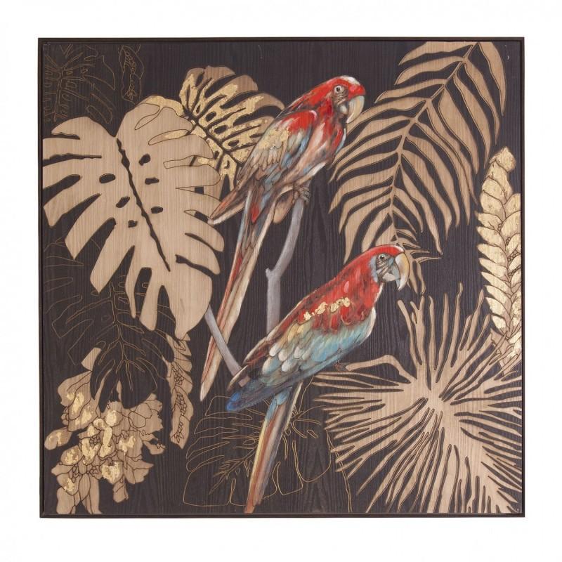 Cuadro Loros sobre lienzo con marco de madera con acabado natural ...