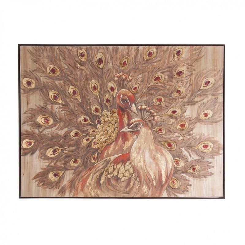 Cuadro pavo real sobre lienzo con marco de madera con acabado ...