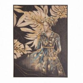 Cuadro dama africana color oscuro sobre lienzo marco madera pino
