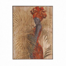 Cuadro dama africana sobre lienzo marco madera pino