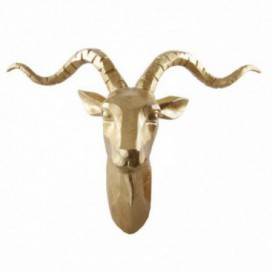 Figura cabeza cabra dorada resina