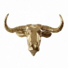 Figura cabeza toro dorada resina