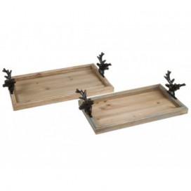 Bandejas set / 2 ciervos madera natural acabado vintage