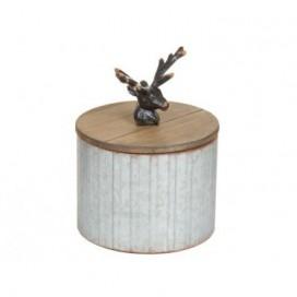 Caja madera ciervo con tapa color plata