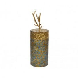 Caja con tapa grande rama añil y oro acabado envejecido