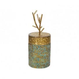 Caja con tapa peque rama añil y oro acabado envejecido