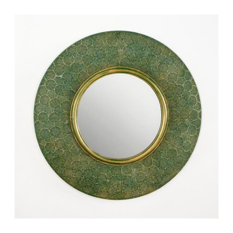 Espejo miss circular de color oro y verde muebles y for Espejo circular