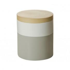 Caja con tapa Greu gris y blanco bambú nórdico 20cm