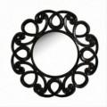 Espejo redondo Shina madra y vidrio color negro