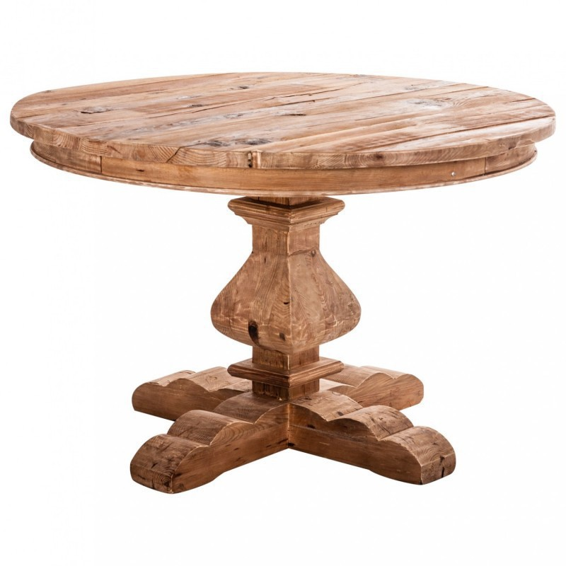 Mesa comedor redonda madera pino reciclado r stica for Mesas redondas de madera
