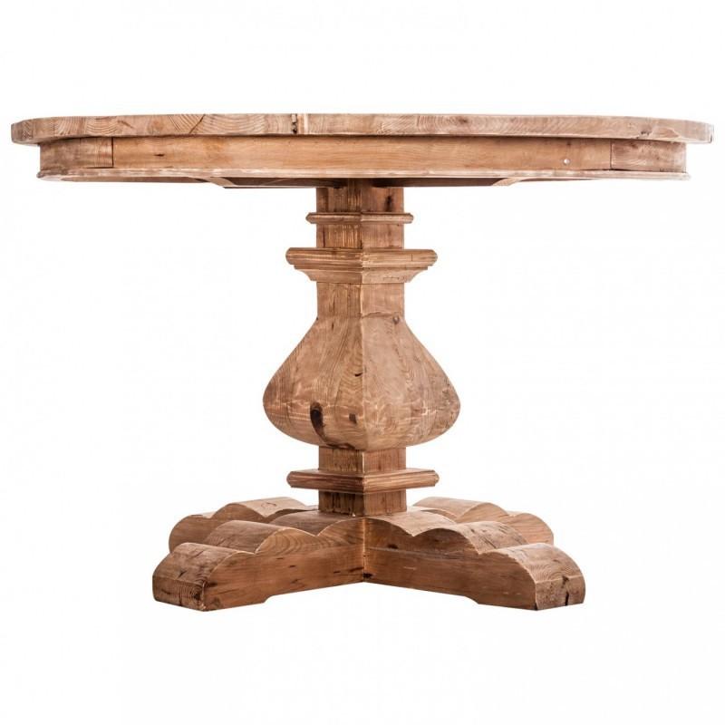 Mesa comedor redonda madera pino reciclado r stica - Mesa madera pino ...