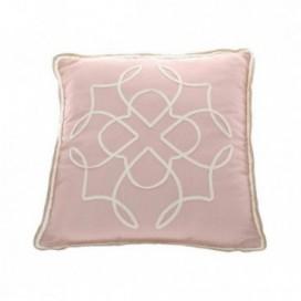 Cojín Rousse bordado rosa y blanco 45x45