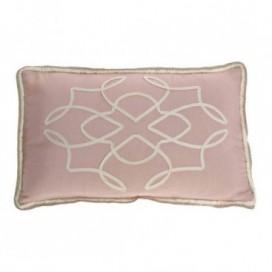 Cojín Rousse bordado rosa y blanco 30x50