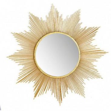 Espejo Sol 84x84 metal dorado