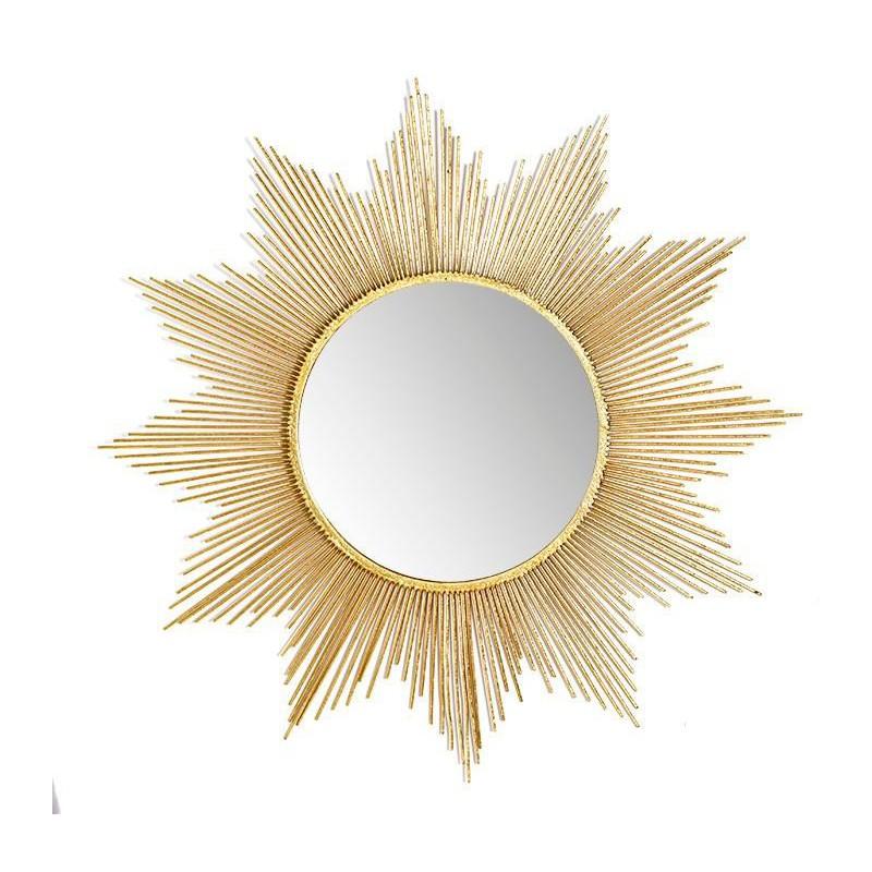 espejo sol color dorado elaborado en metal