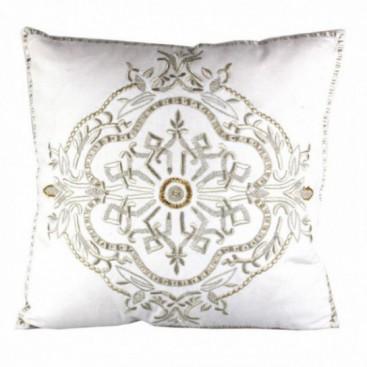 Cojín Sauvage oro / blanco bordado lino
