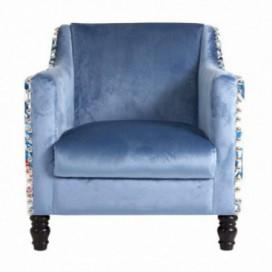 Sillón colección Lipic capitoné azul estampado