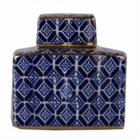 Tibor serie Zen tamaño mediano color blanco, azul y oro