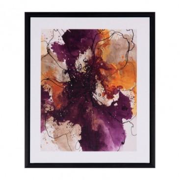 Cuadro Flor purpura marco negro madera