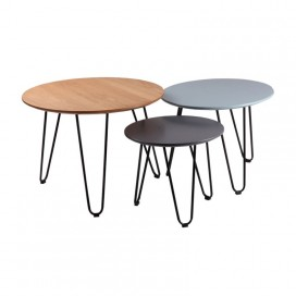 Set mesas centro Istambul roble azul gris oscuro