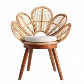 Silla Flor natural madera mahogani y rattan