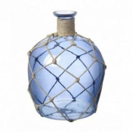 Botella cristal azul con yute