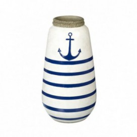 Jarrón Ancora cerámica azul / blanco